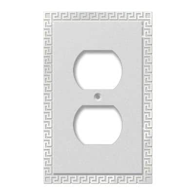 Greek Key 1 Gang Duplex Metal Wall Plate - Frosted Chrome