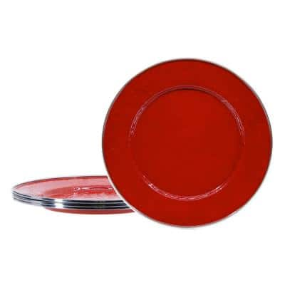 Solid Red 10.5 in. Enamelware Round Dinner Plates (Set of 4)