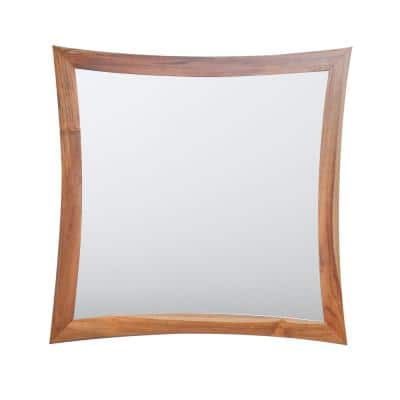Curvature 36 in. W x 35 in. H Framed Rectangular Beveled Edge Bathroom Vanity Mirror in Natural