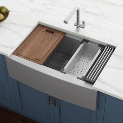 16-Gauge Stainless Steel 27 in. Single Bowl Farmhouse Apron Workstation Kitchen Sink