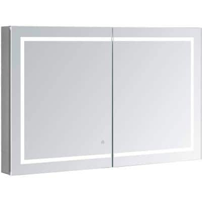 Royale PlusV2 48 in. W x 30 in. H Recessed/Surface Mount Medicine Cabinet with Mirror, Bi-View Door, LED, Defogger