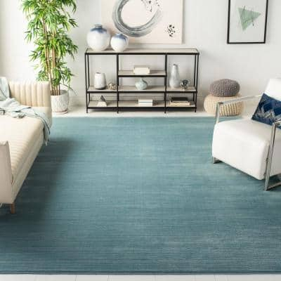 Vision Aqua 9 ft. x 12 ft. Solid Area Rug