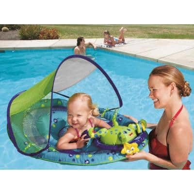 Blue Round Vinyl Baby Spring Float Activity Center Pool Raft with Sun Canopy (2-Pack)