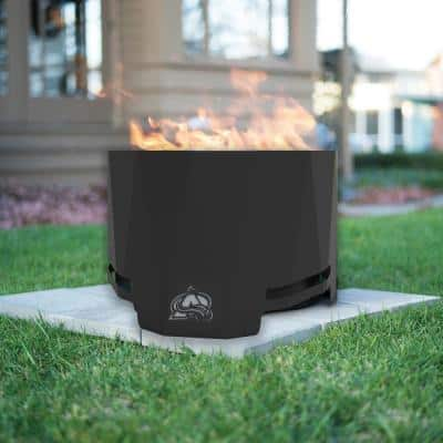 The Peak NHL 24 in. x 16 in. Round Steel Wood Patio Fire Pit - Colorado Avalanche