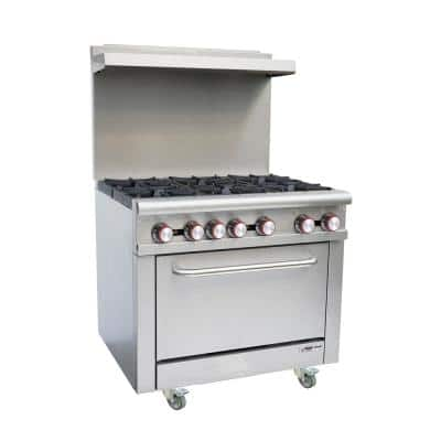 36 in. Commercial Gas Range in Stainless Steel