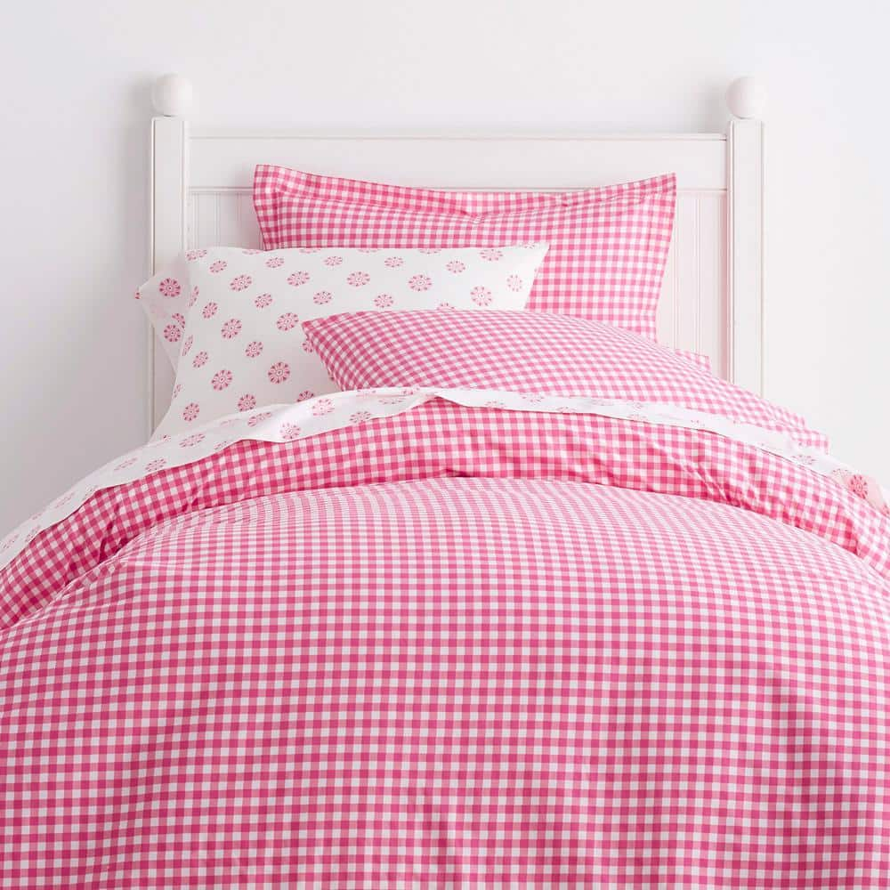 Cstudio Home By The Company Store Gingham Hot Pink Cotton Percale Twin Duvet Cover 30270d T Hot Pink The Home Depot