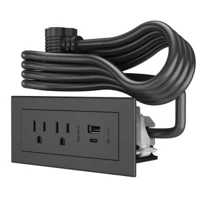 6 ft. Cord 15 Amp 2-Outlet and 2 Type A/C USB Radiant Furniture Power Strip in Black