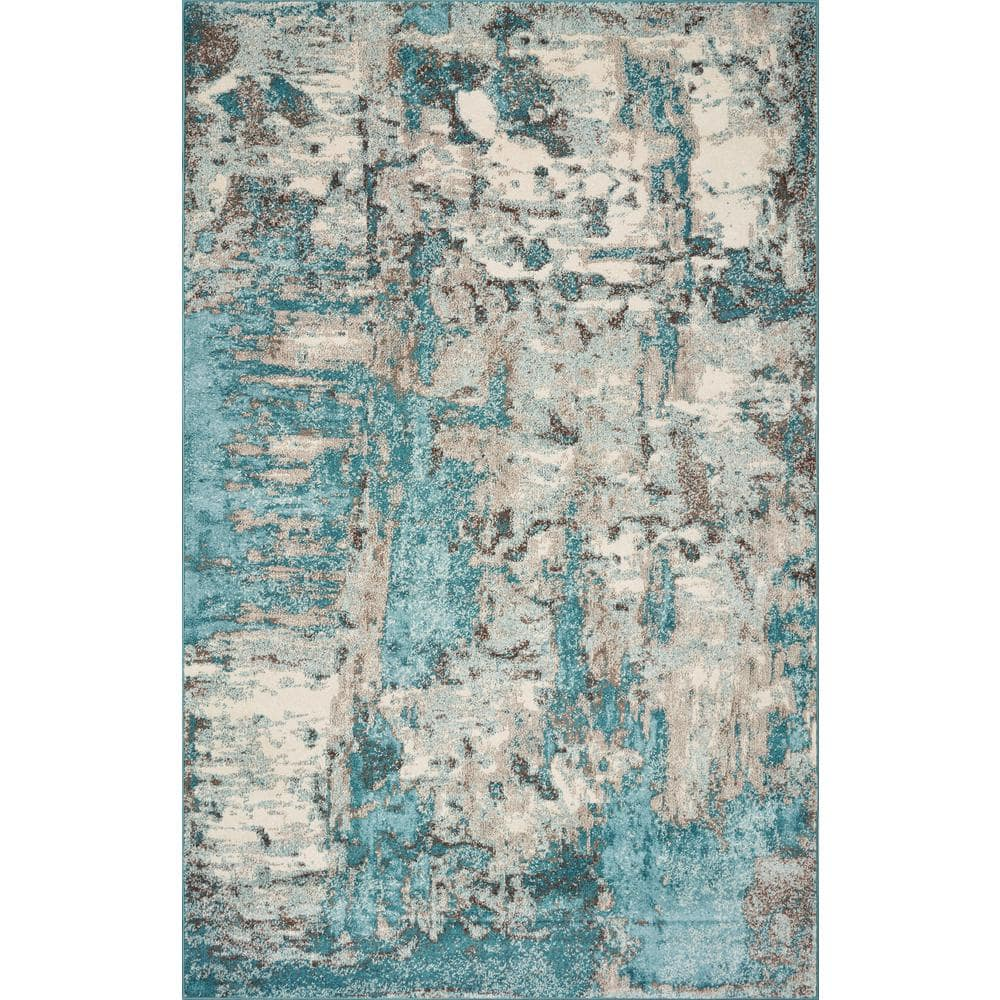 Kas Rugs Watercolors Ivory Teal 8 Ft X 10 Ft Watercolor Area Rug Wat623383x102 The Home Depot