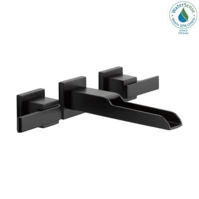 Ara 2-Handle Wall Mount Bathroom Faucet Trim Kit in Matte Black with Open Channel Spout (Valve Not Included)