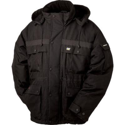 Men's Large Black Polyester Heavy-Insulated Waterproof Coat