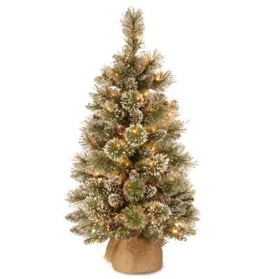 3 ft. Glittery Bristle Pine Tree with Battery Operated Warm White LED Lights