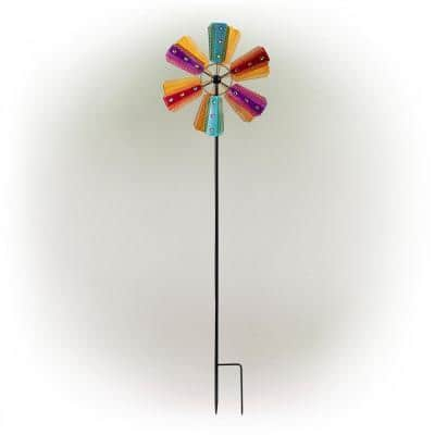 86 in. Tall Outdoor Colorful Bejeweled Wind Spinner Stake Yard Decoration, Multicolor
