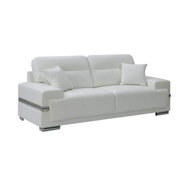 William's Home Furnishing Zibak 37.00 in. White Solid Leather 3-Seat Bridgewater Sofa with No Additional Features | The Home Depot