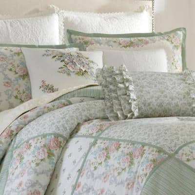 Harper Jade Green Floral Cotton Comforter Set