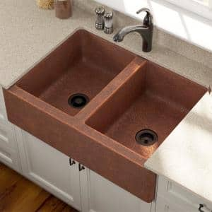 Farmhouse Apron Front Copper 35 in. Double Bowl Kitchen Sink