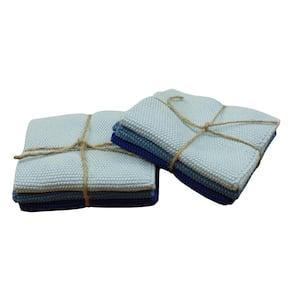 Knitted Set of 6 Kitchen Dishcloths, Sky Blue