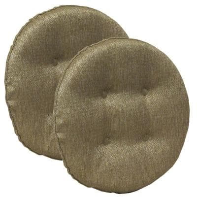 Gripper Non-Slip 14 in. x 14 in. Omega Gold Tufted Barstool Cushions (Set of 2 )
