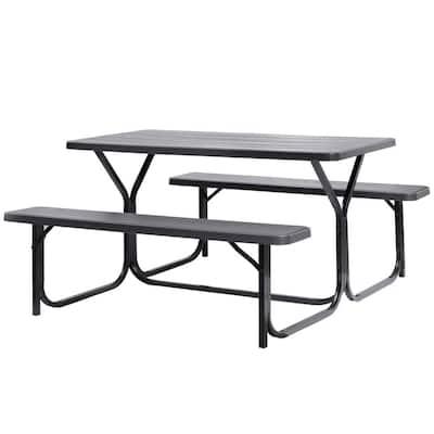 Woodgrain Plastic and Metal Frame Steel Gray Outdoor Picnic Table Set
