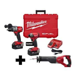 M18 FUEL 18-Volt Lithium-Ion Brushless Cordless Surge Impact and Hammer Drill Combo Kit /W M18 Reciprocating Saw