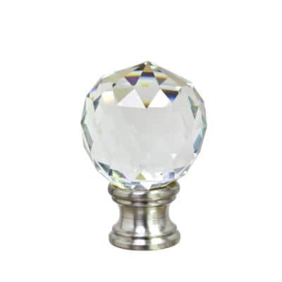 1-3/4 in. Clear Faceted Crystal Lamp Finial with Brushed Nickel Finish (1-Pack)