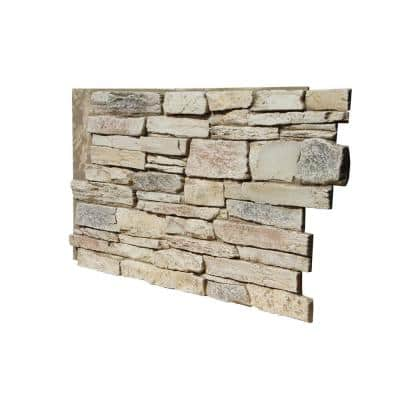 Ledge Stone 48 in. x 24.25 in. Polyurethane Interlocking Siding Panel in Frosted Blush