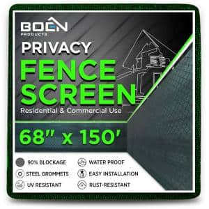 68 in. x 150 ft. Green Privacy Fence Screen Netting Mesh with Reinforced Grommet for Chain link Garden Fence