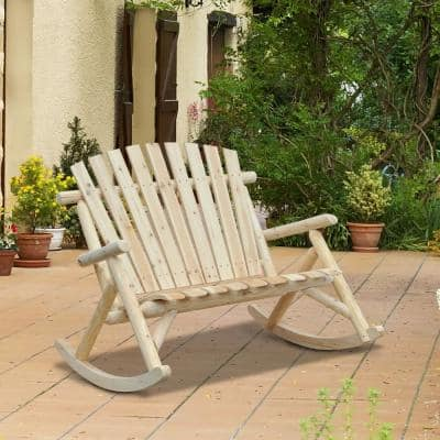 2-Person Wood Adirondack Outdoor Rocking Chair with Slatted Design for Porch, Poolside, or Garden Lounging