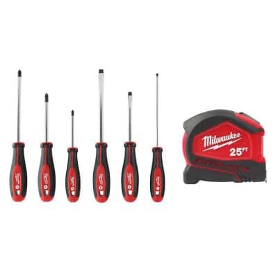 Screwdriver Set (6-Piece) W/ 25 ft. Compact Auto Lock Tape Measure