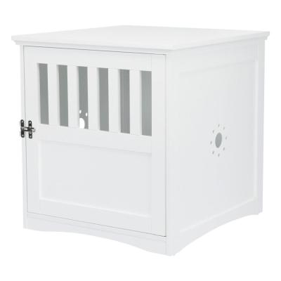 19 in. x 20 in. x 20 in. Coffee Table Style Indoor Wooden Pet Home in White