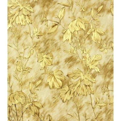 Portofino Gold Cow Leaves Gold Wallpaper Sample