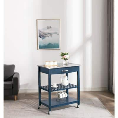 Holland Navy Blue Kitchen Cart with Stainless Steel Top