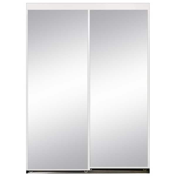 96 In X 80 Aluminum Framed Mirror, White Mirror Sliding Closet Door