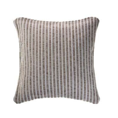 Kind Beige / Cream Striped 22 in. x 22 in. Cotton Throw Pillow