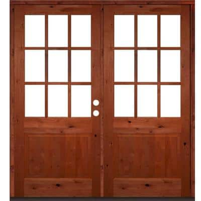 72 in. x 80 in. Craftsman Knotty Alder Wood Clear 9-Lite Red Chestnut Stain Left Active Double Prehung Front Door