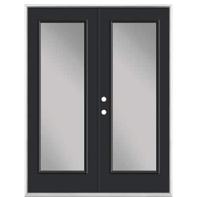 60 in. x 80 in. Jet Black Steel Prehung Right-Hand Inswing Full Lite Clear Glass Patio Door without Brickmold