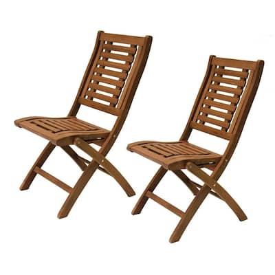 Folding Eucalyptus Outdoor Dining Chair (2-Pack)