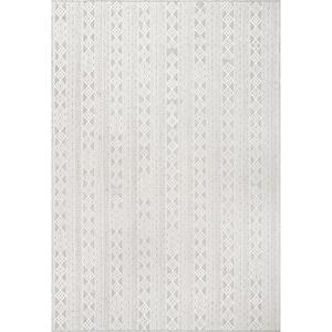Devon Geometric Stiped Gray 2 ft. x 8 ft. Indoor/Outdoor Runner Rug