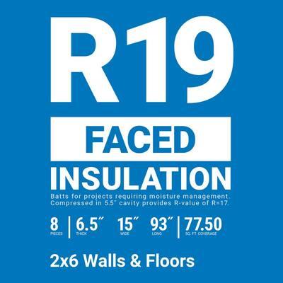 R-19 Kraft Faced Fiberglass Insulation Batt 15 in. x 93 in. (10-Bags)