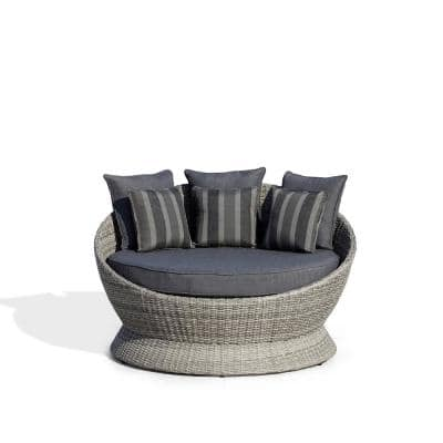 Brisbane II Gray Aluminum Frame with Dark Gray Wicker Outdoor Day Bed with Gray Cushion