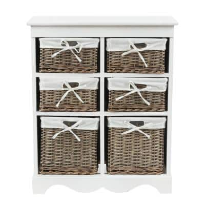 30.1 in. H White Wood Cabinet with 6-Drawer Baskets