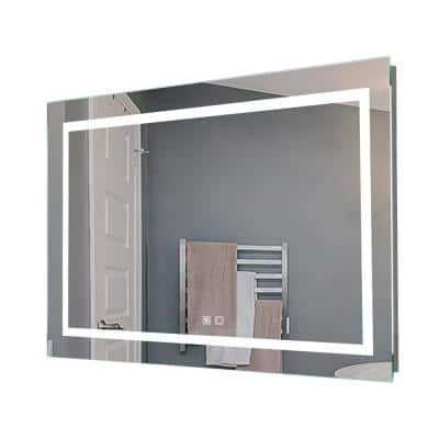 40 in. W x 24 in. H Frameless Rectangle Anti Fog Dimmable Front Lighted Bathroom Vanity  Mirror with Night Light