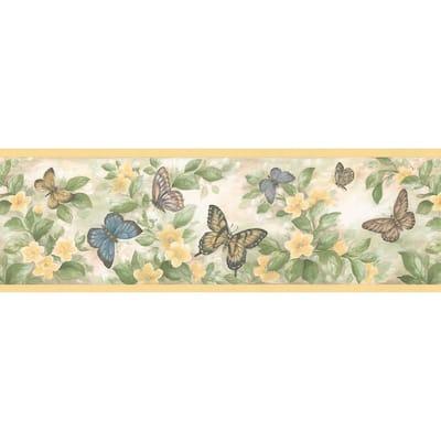 Butterflies Yellow Wallpaper Border