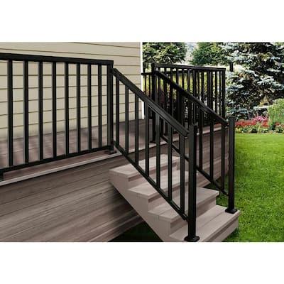 Black 6 ft. Aluminum Stair Hand and Base Rail Kit