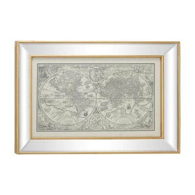 28.5 in. x 19.5 in. Vintage Style Petrus Plancius World Map Illustration Textile in Rectangular Mirror and Gold Frame