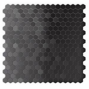 Hexagonia SB Black Stainless 11.46 in. x 11.89 in. x 5mm Metal Self Adhesive Wall Mosaic Tile