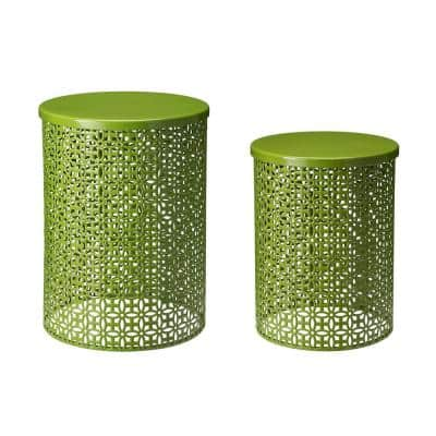 Multi-Functional Metal Green Garden Stool or Plant Stand or Accent Table (Set of 2)