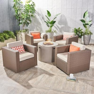 Eli Brown 5-Piece Wicker Patio Fire Pit Conversation Set with Ceramic Gray Cushions