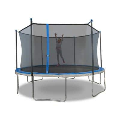 Trujump 12 ft. Trampoline with 6-Pole Enclosure in Blue