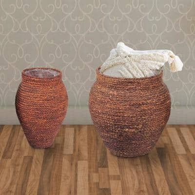 Brown Seagrass Woven Patterned Baskets (Set of 2)