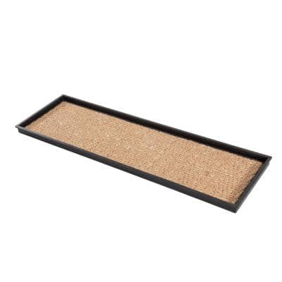 46.5 in. x 14 in. x 1.5 in. Natural and Recycled Rubber Boot Tray with Tan and Khaki Coir Insert